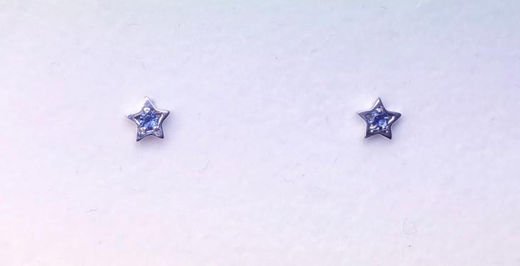 Montana Yogo Sapphire Star Earrings Sterling Silver