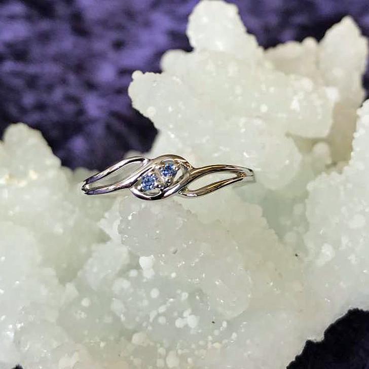 Montana Yogo Sapphire 2 Stone Open Shank Sterling Silver Ring
