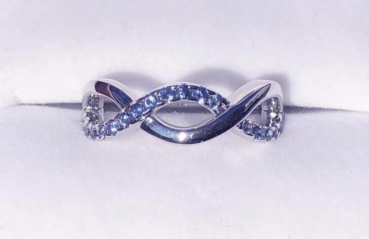 Montana Yogo Sapphire Woven Band Sterling Silver Ring