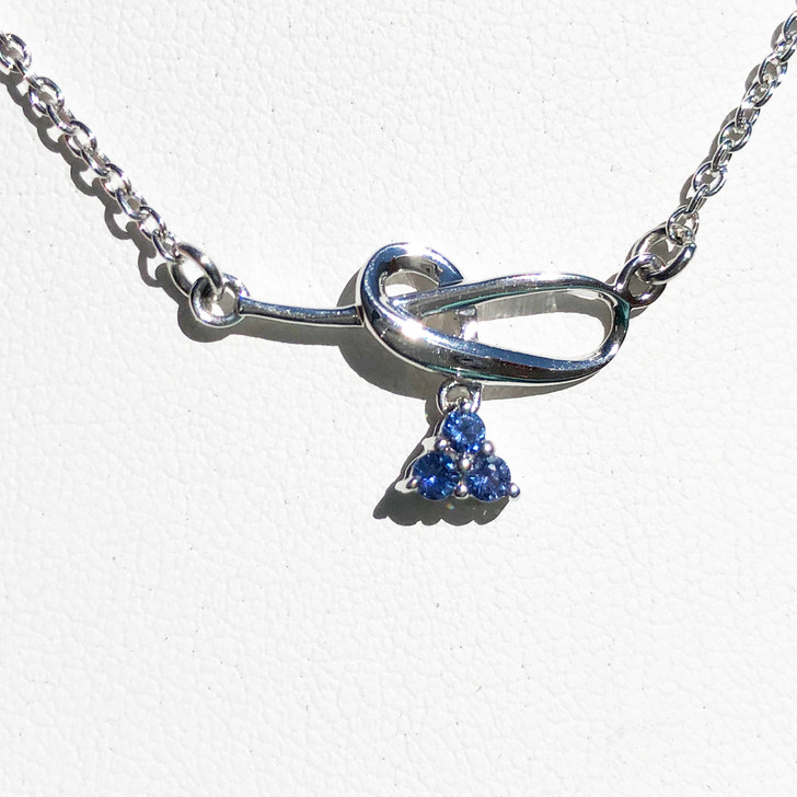Montana Yogo Sapphire Tri Swirl Necklace Sterling Silver
