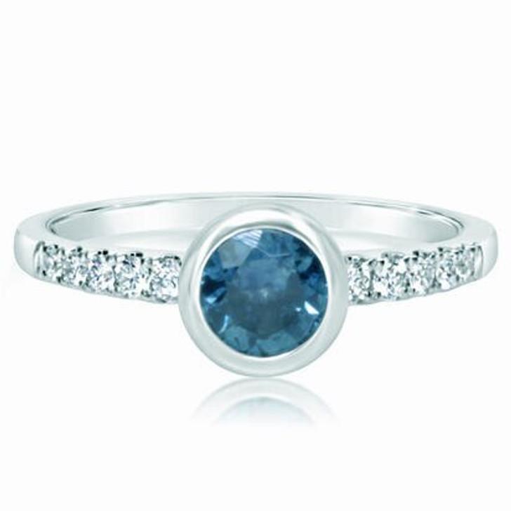 Montana Sapphire & Diamond Bezel Set Ring 14KW White Gold