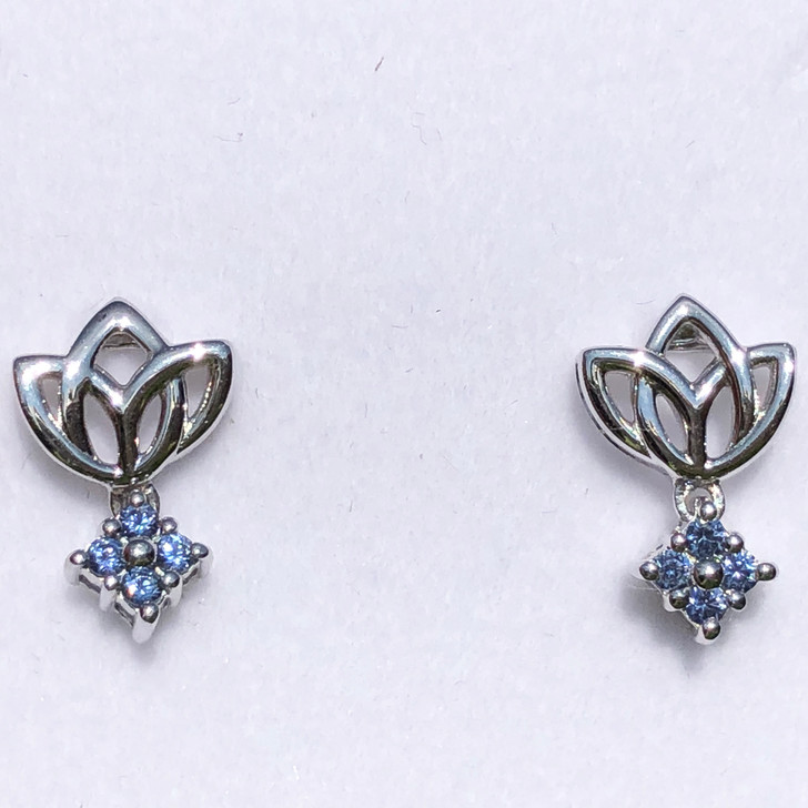 Montana Yogo Sapphire Tulip 4 Stone Earrings Sterling Silver