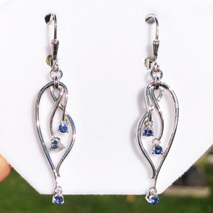 Montana Yogo Sapphire 3 stone chandelier earrings Sterling Silver