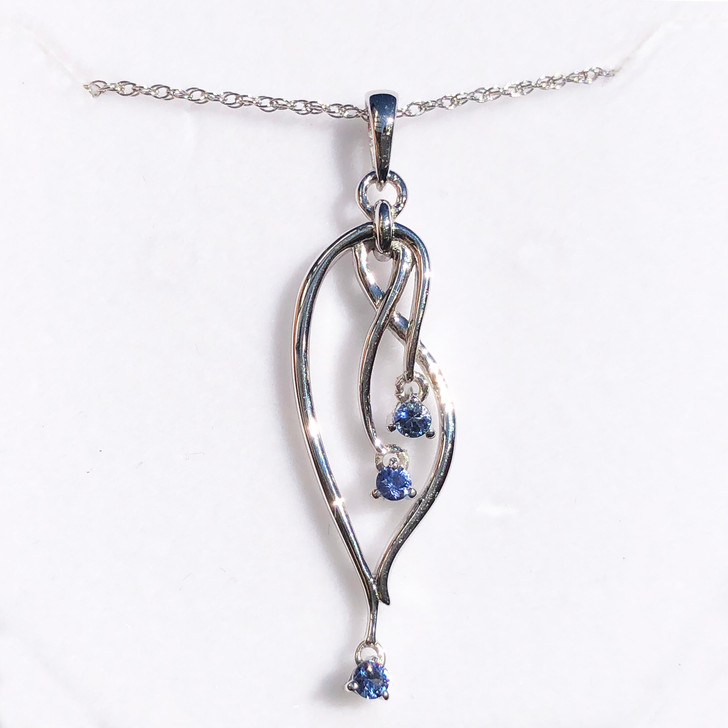 Montana Yogo Sapphire 3 Stone Chandelier Pendant Necklace Sterling