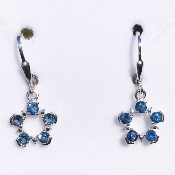 Montana Sapphire 5 Stone Circle Leverback Earrings Sterling Silver