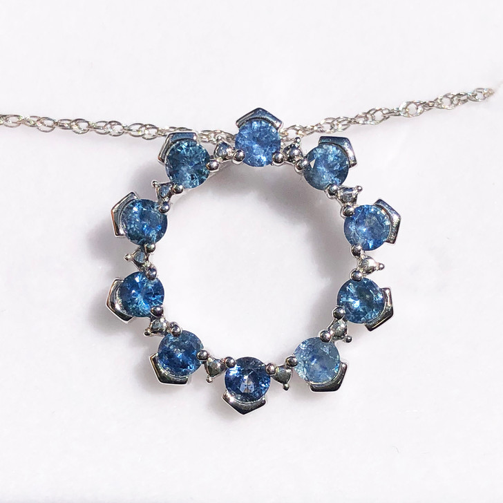 Montana Sapphire 10 Stone Circle Pendant Necklace in Sterling Silver