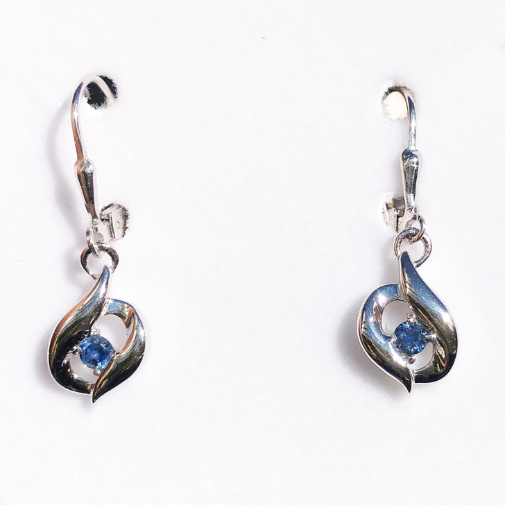 Montana Sapphire Bypass Leverback Earrings Sterling Silver