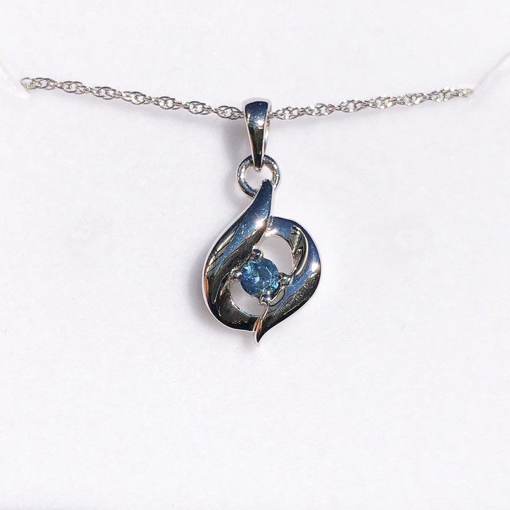 Montana Sapphire Bypass Pendant Necklace in Sterling Silver