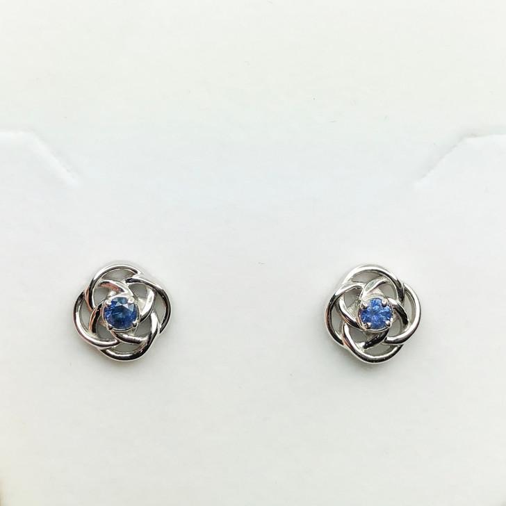 Montana Sapphire Loveknot Earrings Sterling Silver