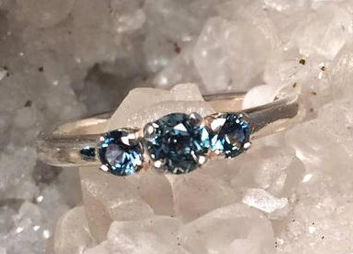 Montana sapphire 3 stone ring
