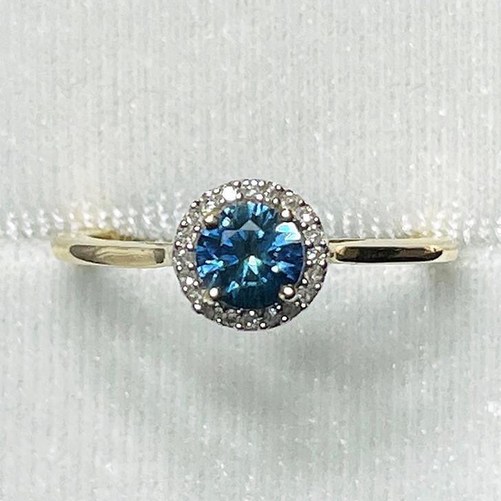 Montana Sapphire Halo Diamond Ring 10K Yellow Gold