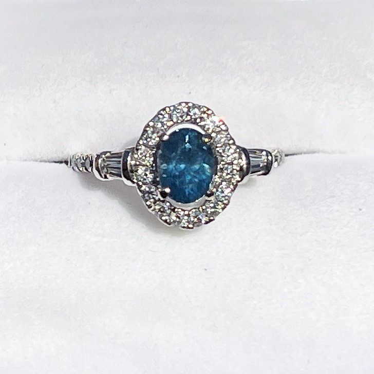 Montana Sapphire Oval Halo Diamond Ring 14K White Gold