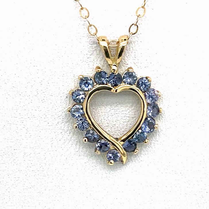 Montana Yogo Sapphire 16 Stone Heart Pendant Necklace 14K Gold