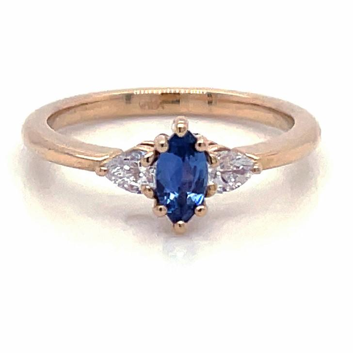Montana Yogo Sapphire Marquise & Pear Diamond Ring 14K Yellow Gold