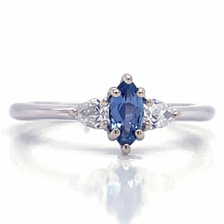 Montana Yogo Sapphire Marquise & Pear Diamond Ring 14K White Gold