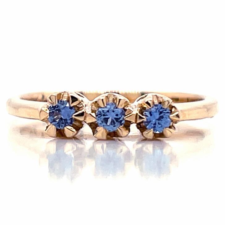 Montana Yogo Sapphire 3 Stone Ring 14K Yellow Gold