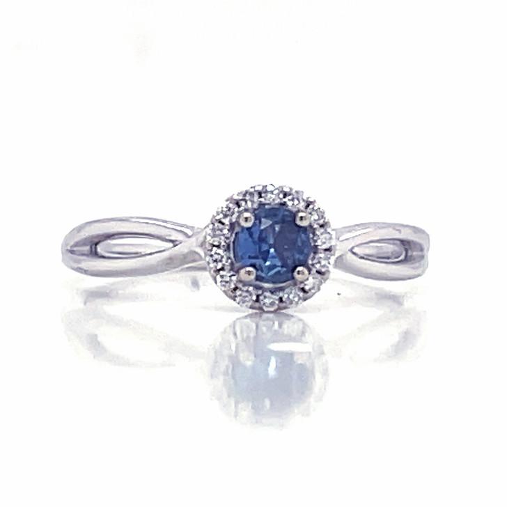 Montana Yogo Sapphire Round & Diamond Halo Ring 14K White Gold