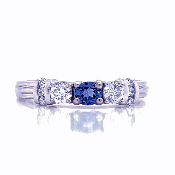 Montana Yogo Sapphire & Diamond 3 Stone Ring with Accents 14K White Gold