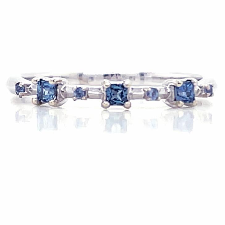 Montana Yogo Sapphire 3 Stone Princess Cut Band Ring 14K White Gold