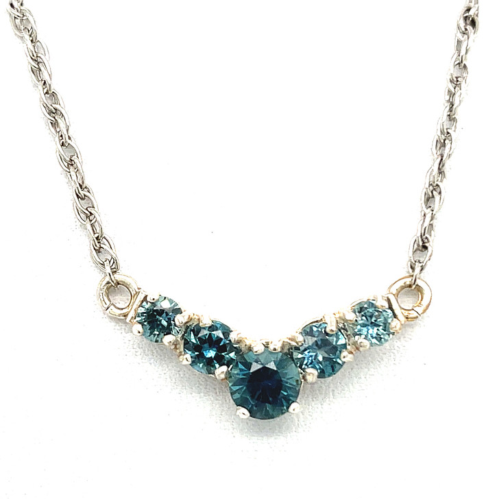 Montana Sapphire V Necklace in Sterling Silver