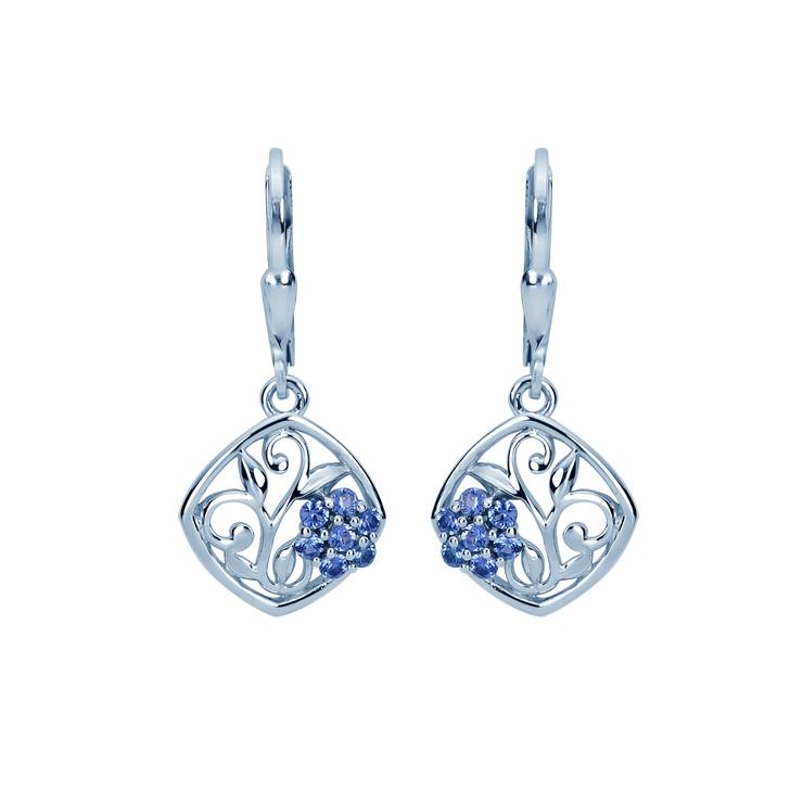 Montana Yogo Sapphire Framed Flower Earrings Sterling Silver