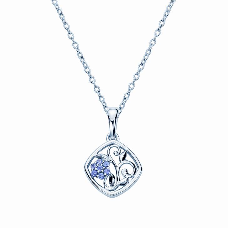 Montana Yogo Sapphire Framed Flower Pendant Necklace Sterling Silver