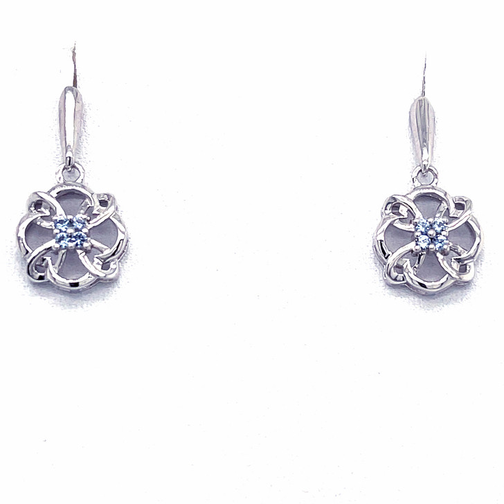 Montana Yogo Sapphire 4 Stone Pinwheel Earrings Sterling Silver