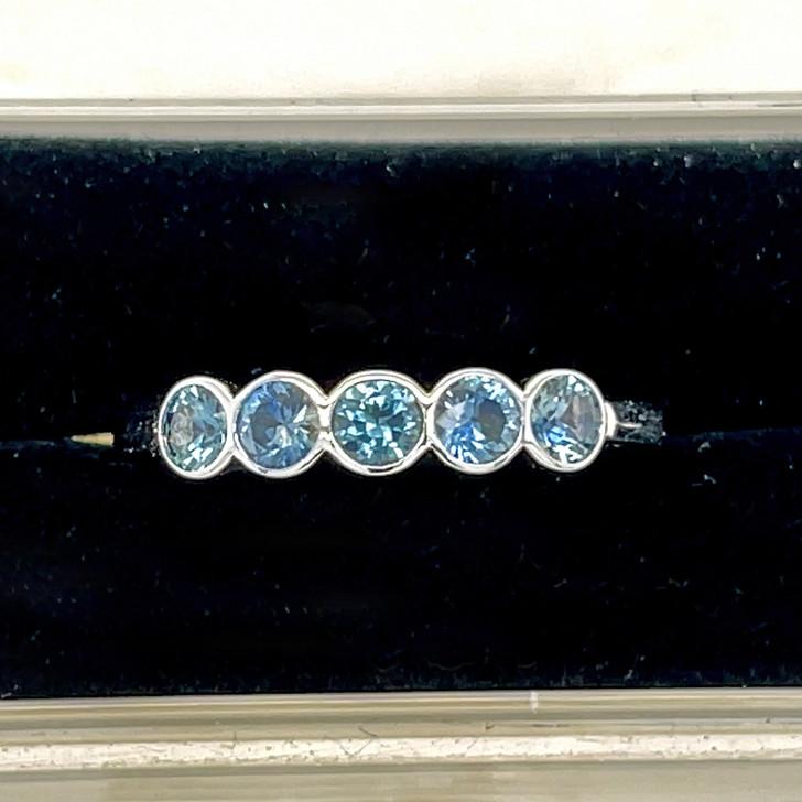 Montana Sapphire 5 Stone Bezel Ring 18K White Gold