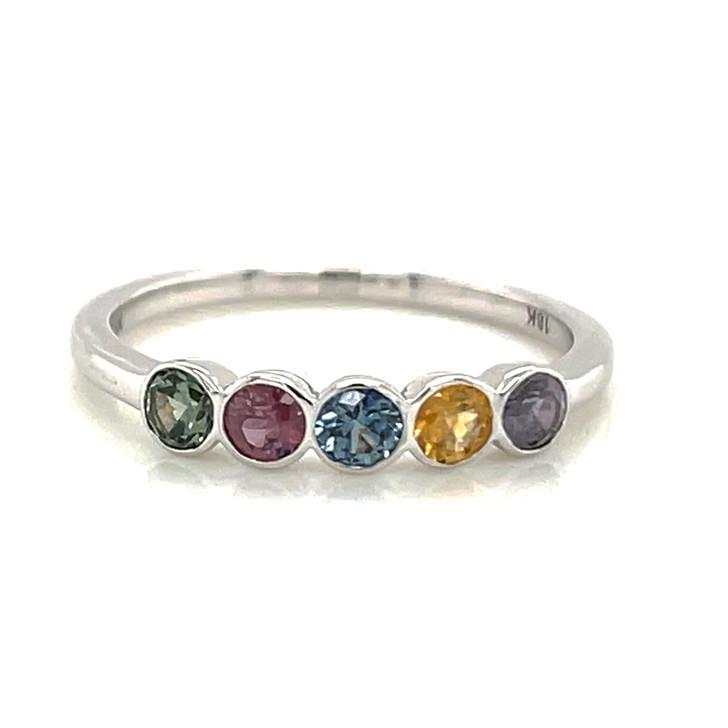 Montana Sapphire 5 Stone Multi Color Bezel Ring 18K White Gold