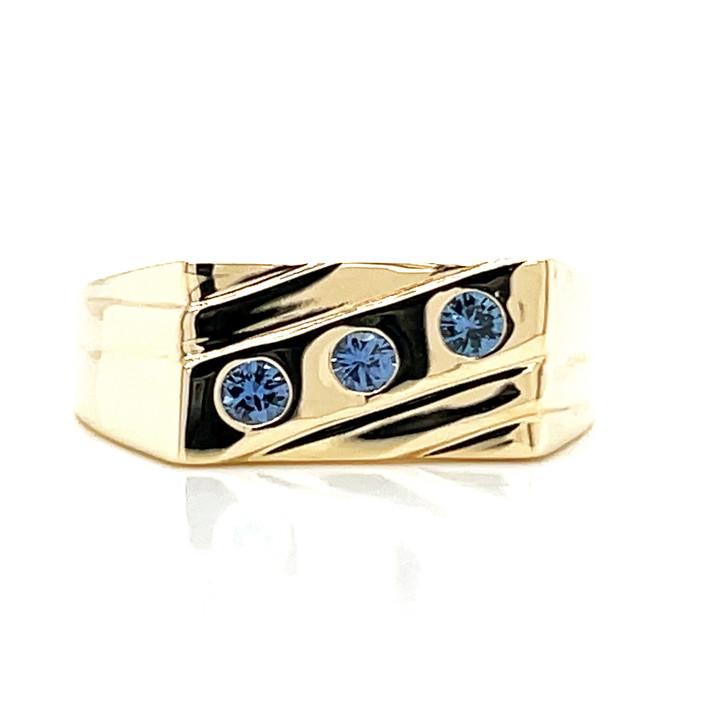 Montana Yogo Sapphire 3 Stone Mens Gents Ring 10K Yellow Gold
