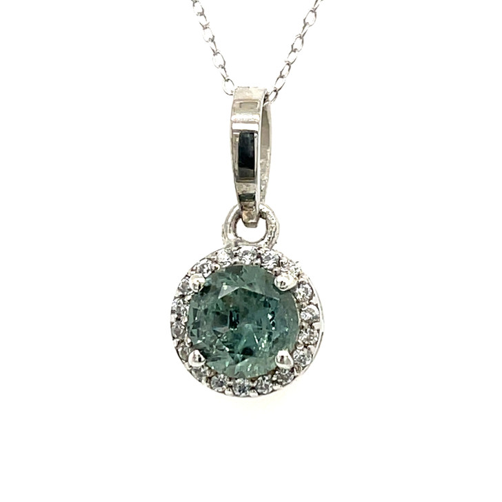 Montana Sapphire Halo Pendant Necklace in Sterling Silver