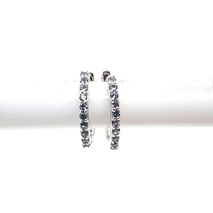 Montana Yogo Sapphire 10 Stone Hoop Earrings Sterling Silver