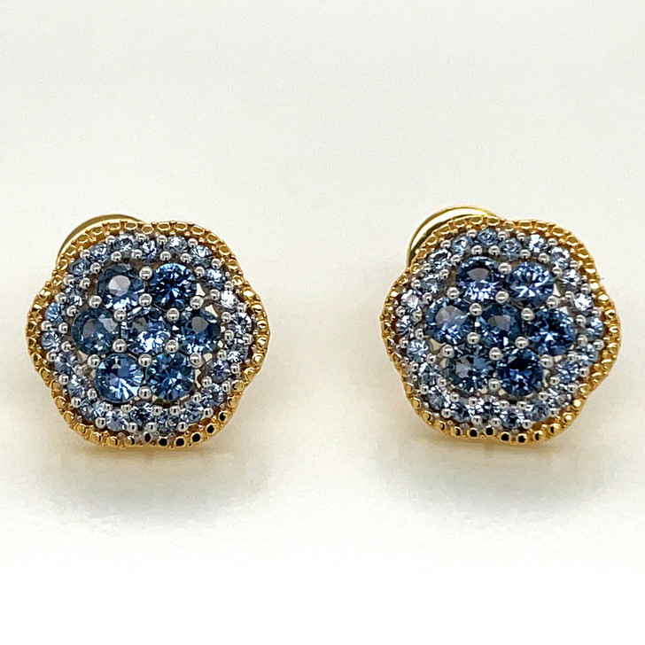 Montana Yogo Sapphire Flower Cluster Screwback Earrings 2 cts 14K Yellow Gold