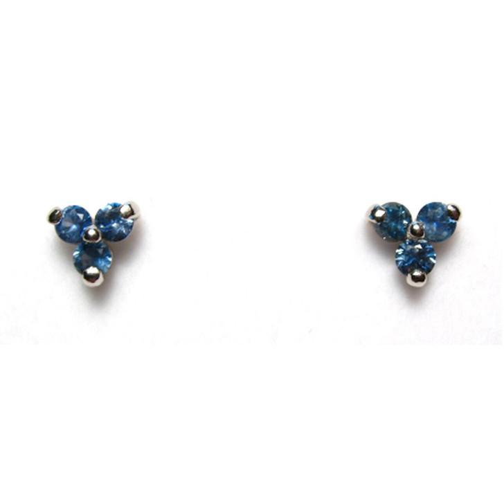 Montana sapphire tri earrings blue 14K  3mm white gold