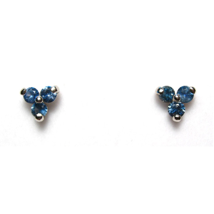 Montana sapphire tri earrings blue 14K  3mm white gold