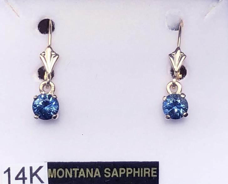 Montana sapphire Dangle Leverback 5mm earrings 14K yellow gold