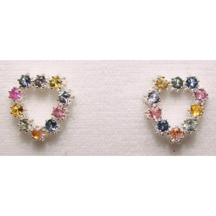 Montana sapphire 2.25mm heart earrings multi color