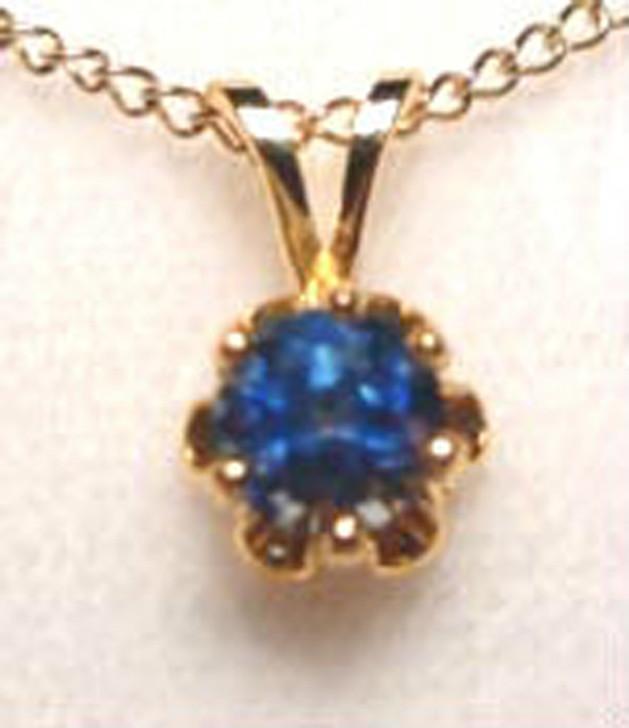 Montana Sapphire 6 prong buttercup pendant gold filled