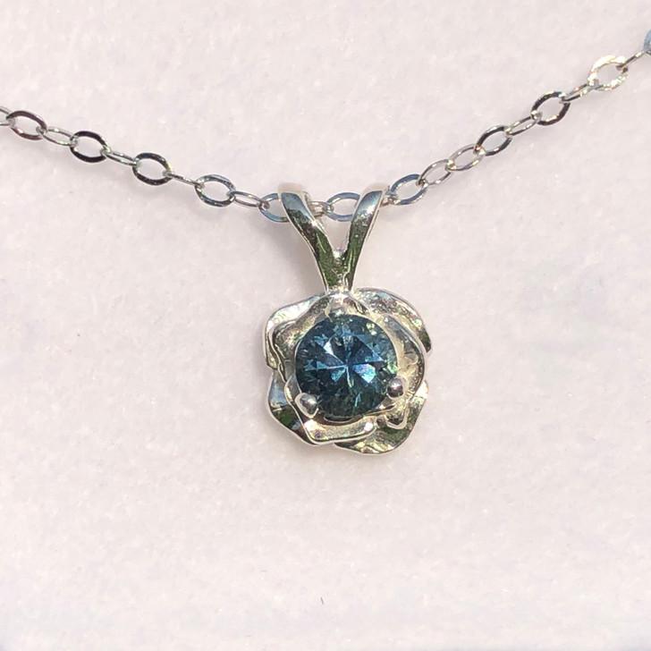 Montana sapphire rose pendant 4.25mm sterling silver.