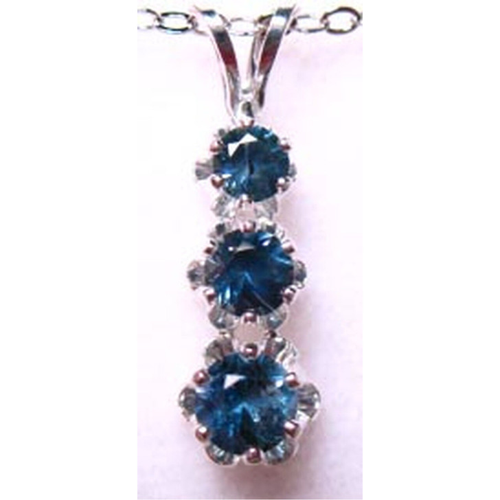 Montana Sapphire 3 stone drop pendant blue sterling silver