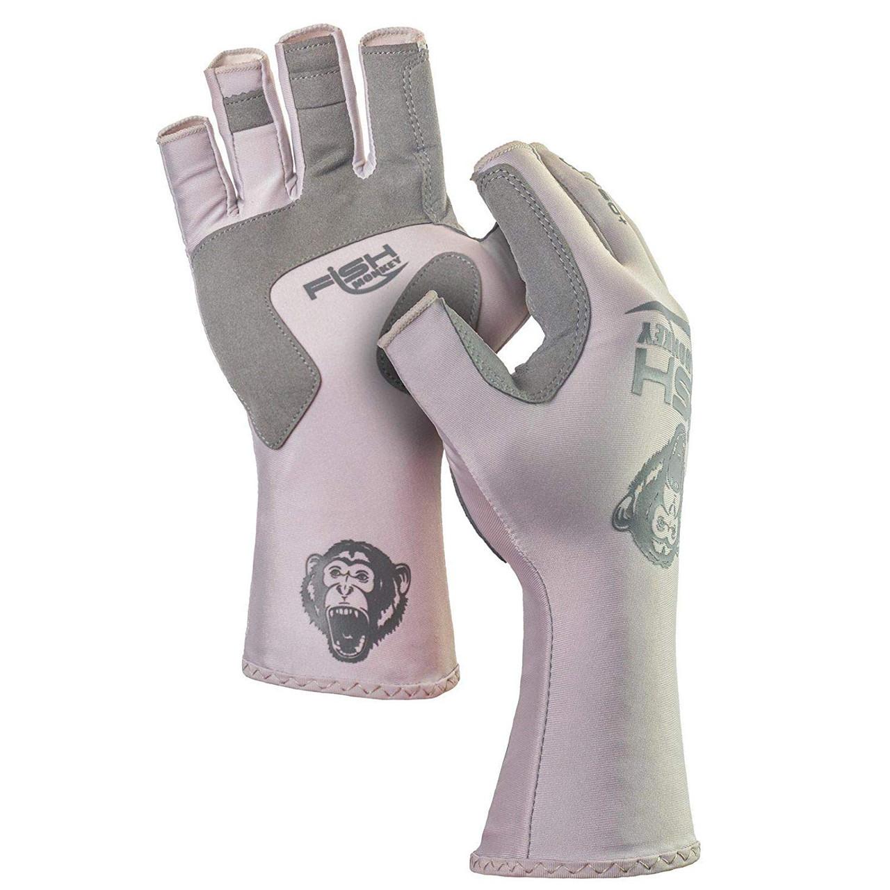 Fish Monkey Gloves Half Finger Guide Glove, Light Grey, MD - FM11-LTGREY-M