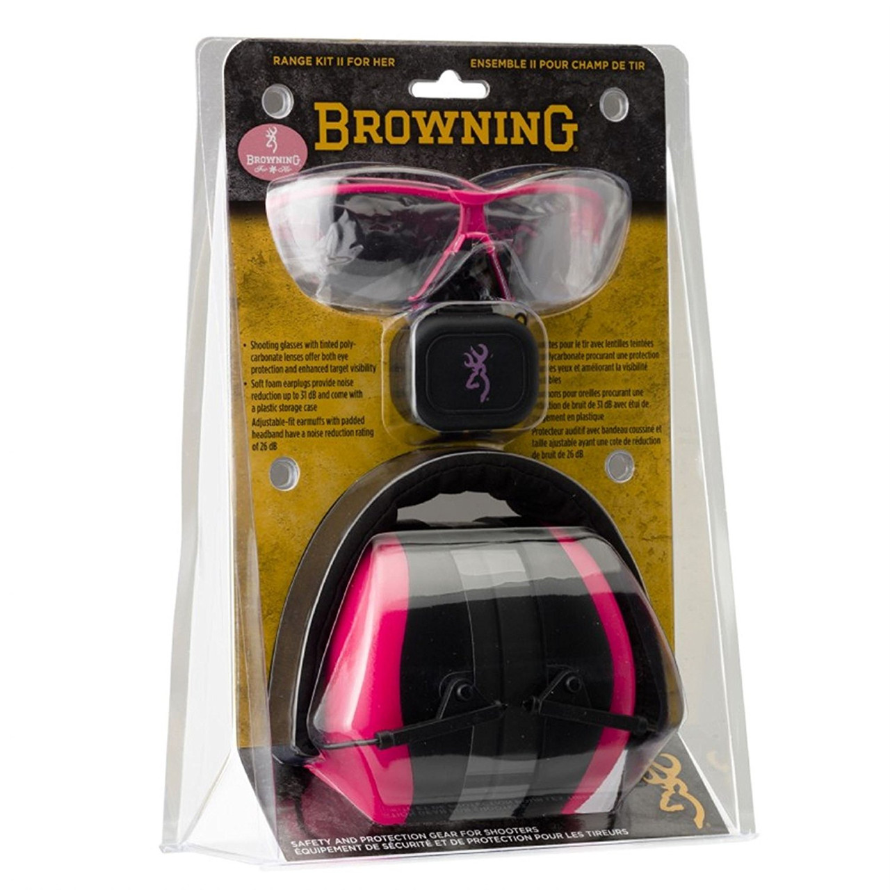 Browning Range Kit II For Her, 26 dB Muffs, Sunglasses, Pink - 126373
