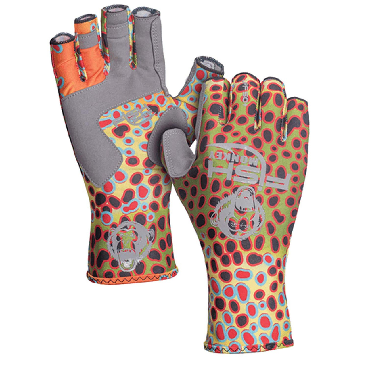 Fish Monkey Gloves Half Finger Guide Glove, Brown Trout, 2X