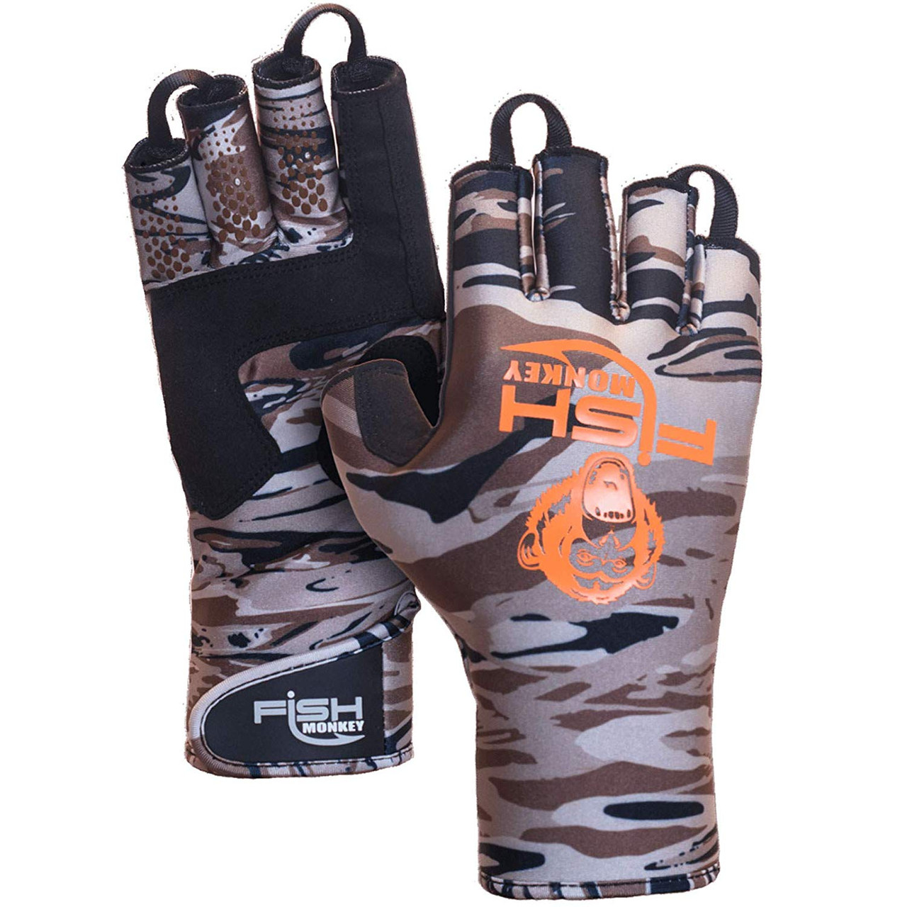Fish Monkey Backcountry II Insulated Half Finger Glove, Fall Water Camo - LG