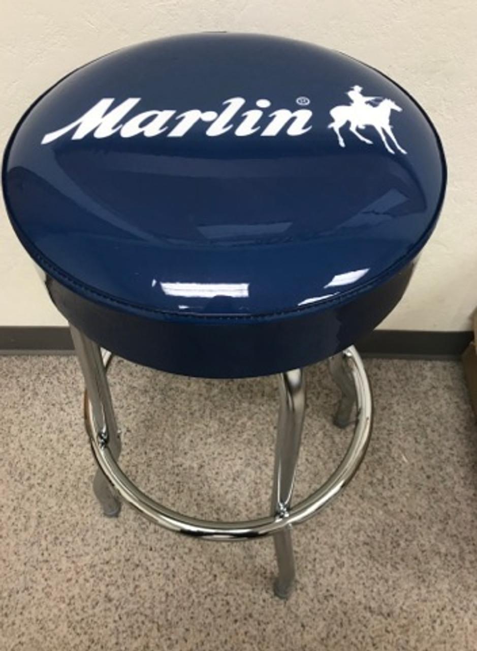 Marlin Men's Man Cave Bar Stool, Blue, Marlin Logo, Brand New