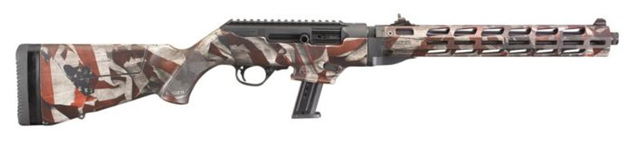 "Ruger 19121 PC Carbine 9mm 16.12"" TBBL 17+1 American Flag Cerakote NIB"