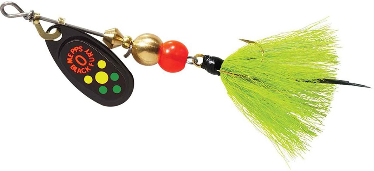 Mepps Black Fury Dressed Treble Spinner Hot Fire Tiger Dot Size 0 1/12 Oz