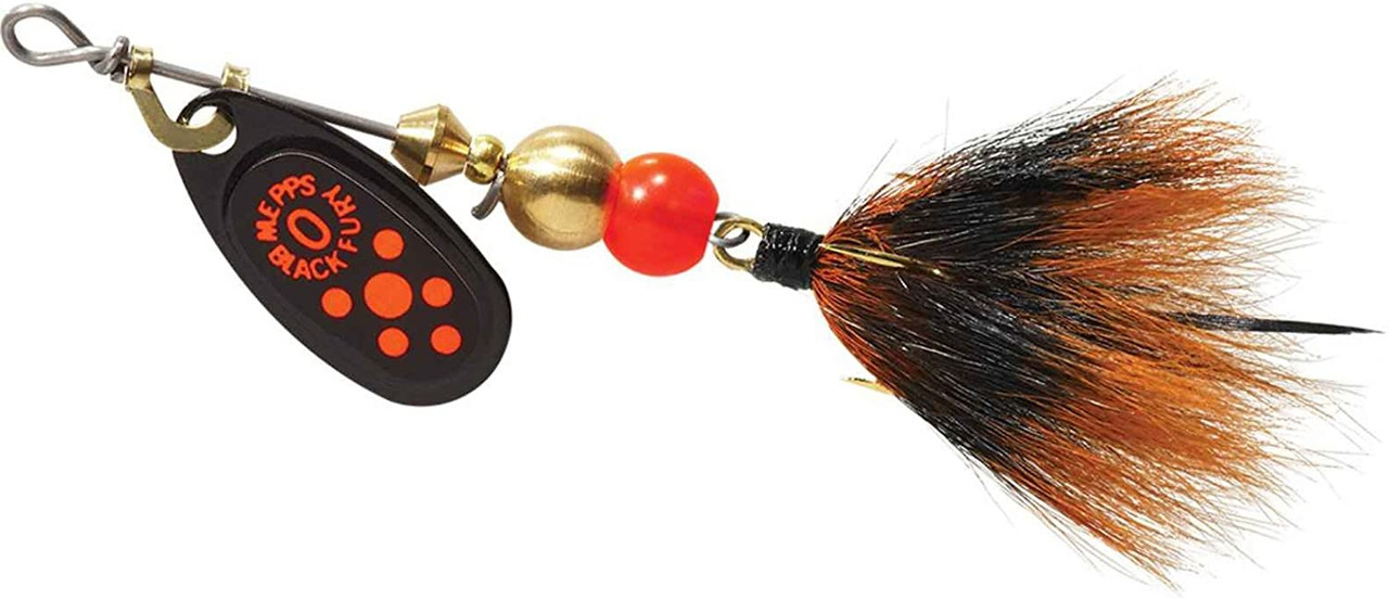 Mepps Black Fury Dressed Treble Spin Red Dot Black/Red Tail Size 0 1/12 Oz