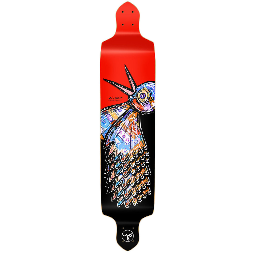 YOCAHER Drop Down Longboard Deck - The Bird Red