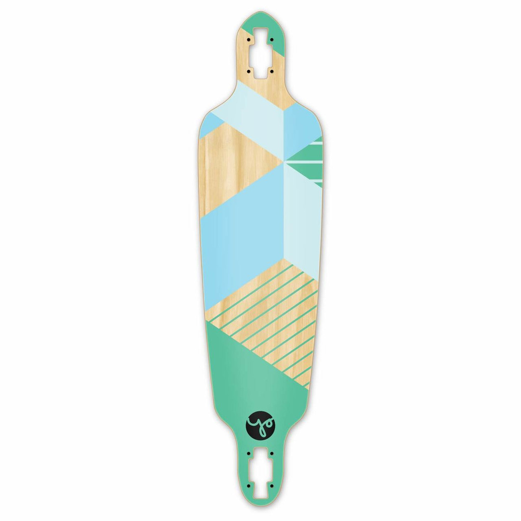 Drop Through Longboard Deck -  Geometric Series - Green